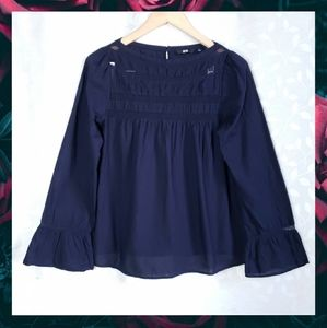 UNIQLO Navy Mesh Pleat Sheer Bell Cuff Peasant Top